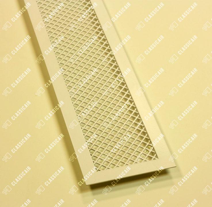 Белая решетка из стали с накладной рамкой