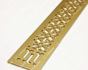 Плоская решетка в подоконник из алюминия с покраской под матовую латунь
