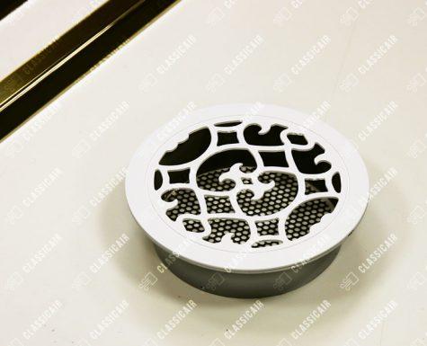 Круглая вентиляционная белая решетка со скрытым крепежом и подложкой